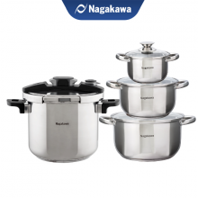 Combo Nồi áp suất cơ đáy từ Nagakawa NAG1472 (7L) và Bộ 3 nồi inox cao cấp 4 đáy Nagakawa NAG1304