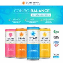 Combo 4 lon mix vị thức uống lên men STAR KOMBUCHA - Balance Pack (lon 250ml)