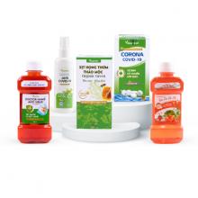 Combo 5 sản phẩm bảo vệ sức khỏe, Viên muối sát khuẩn, Nước súc miệng, Dung dịch kháng khuẩn, Xịt khử khuẩn anti covid