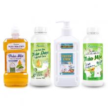 Combo 4 sản phẩm vệ sinh nhà cửa nước rửa đa năng, rửa chén, lau sàn thảo dược, giặt xả hữu cơ