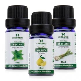 Combo 3 loại tinh dầu sả chanh, vỏ bưởi và bạc hà nguyên chất Lorganic 10ml/chai