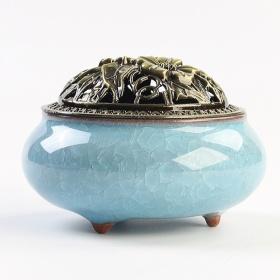 Lư xông trầm hương xanh dương nắp đồng - tặng kèm 10 nụ trầm hương