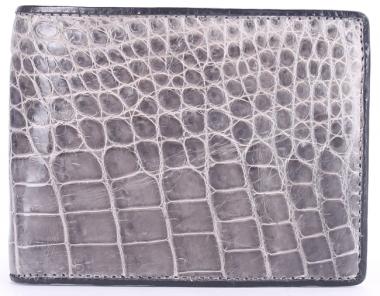 HV2263 - Bóp nam Huy Hoàng da cá sấu gai bụng màu xám