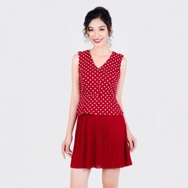 Đầm chấm bi dập li thời trang Eden d181 (đỏ)