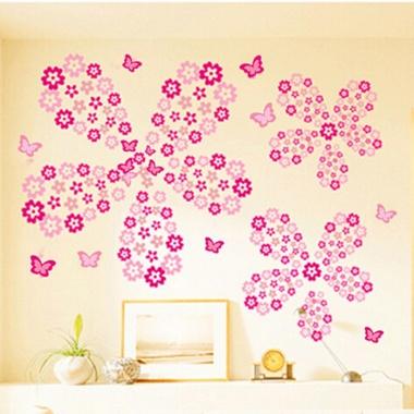 Decal dán tường hoa 5 cánh hồng PK178