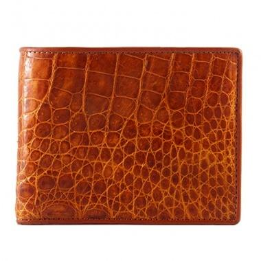 Bóp nam Huy Hoàng da cá sấu gai bụng màu vàng HV2203