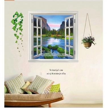 Decal dán tường cửa sổ phong cảnh 3D PK27