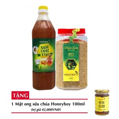 Combo mật ong thô Honeyboy 1000ml + Phấn hoa thiên nhiên Honeyboy 500g+ Tặng mật ong sữa chúa Honeyboy 100ml