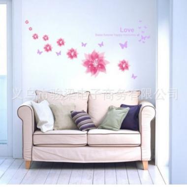 Decal dán tường  hoa hoạ tiết hồng PK83