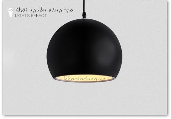 Đèn treo thả trần tròn màu đen đường kính 20cm