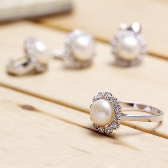 Bộ trang sức bạc Tifany Pearl