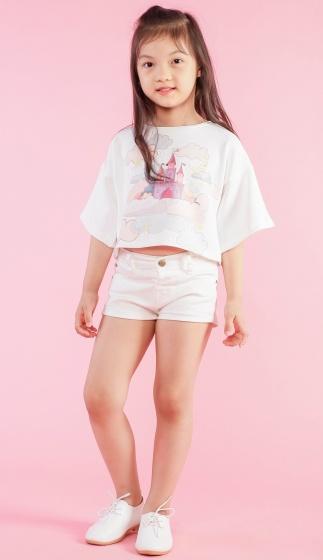 Áo croptop bé gái họa tiết hình lâu đài - UKID126