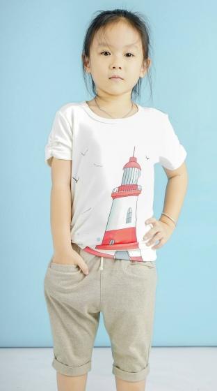 Áo kiểu bé gái  tay ngắn nhúng họa tiết hình - UKID111