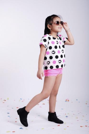 Áo kiểu bé gái chấm bi - UKID24