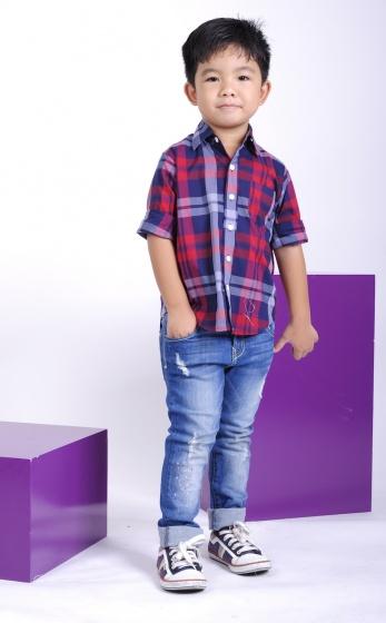 UKID21 - Áo sơ mi bé trai sọc dọc