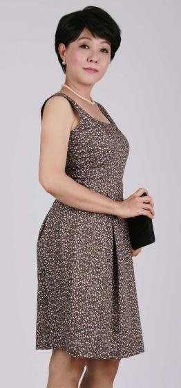 Đầm nữ trung niên xòe cổ chữ U - UPAR30