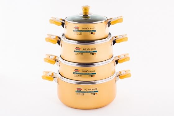 Bộ nồi Anod 4 chiếc màu vàng SH9944