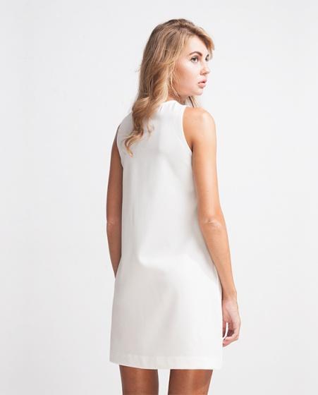 Đầm midi cổ chéo DRE031 (trắng blanc)