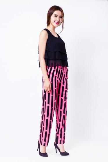 Bộ set quần áo sọc hồng trẻ trung - HK 76