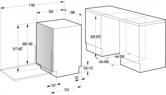 Máy rửa bát âm tủ cao cấp Gorenje GV64161