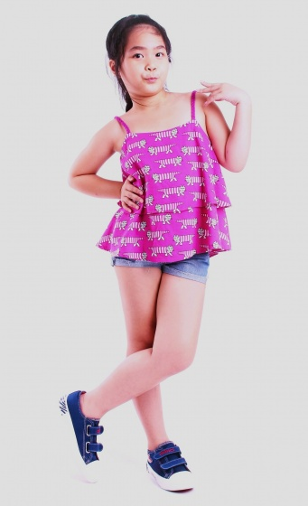 UKID52 - Áo kiểu dây bé gái 2 tầng