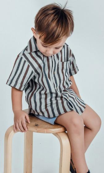 UKID70 - Áo sơ mi bé trai tay ngắn sọc dọc