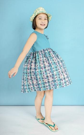 Đầm hoa bé gái phối nơ - UKID88