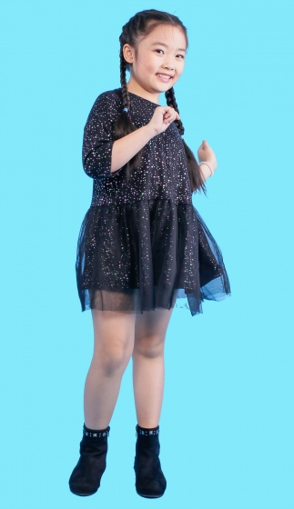 UKID118 - Đầm đen bé gái