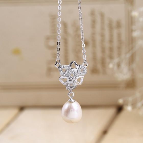 EROPI-Dây chuyền bạc Pearl In Heart