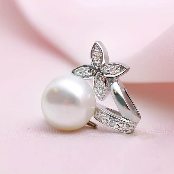 Mặt dây chuyền bạc Flower And Pearl - Eropi Jewelry