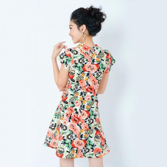 Đầm hoa cổ lọ thời trang Eden d204 (màu cam)