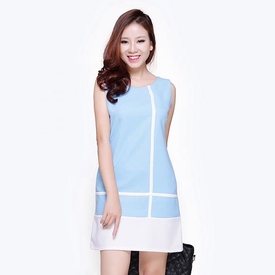 Đầm phối sọc thời trang Eden d070 (xanh biển)