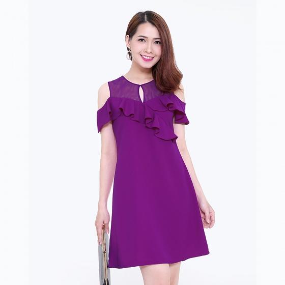 Đầm suông phối lưới thời trang Eden d114 (tím)