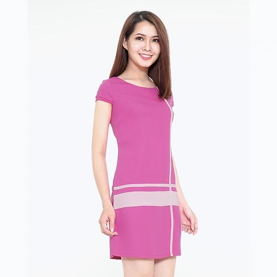 Đầm công sở phối sọc thời trang Eden d120 (hồng sen)