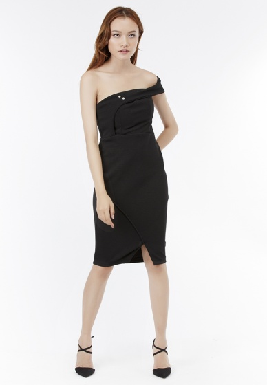 Đầm ôm bẹt vai Amun đắp tà cách điệu màu đen (DOM208-DEN)
