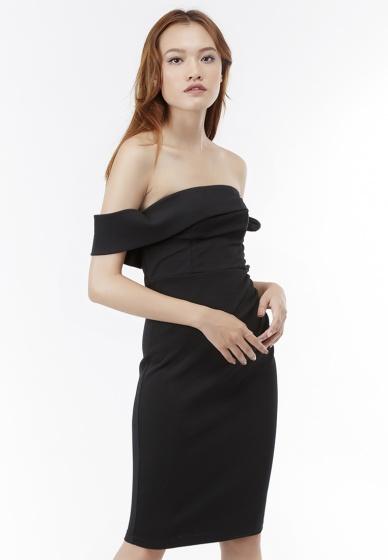 Đầm ôm bẹt vai Amun tay thắt nơ màu đen DOM206-DEN