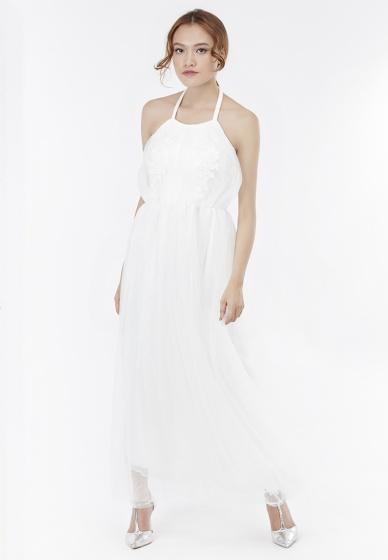 Đầm maxi Amun cúp ngực phối ren lưới màu trắng DMA202-TRANG