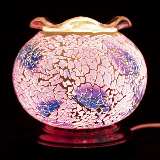 Đèn xông tinh dầu pha lê Lorganic MA6267 màu hồng tím + Tặng 01 chai sả chanh 10ml