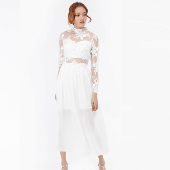 Set đầm ren maxi Amun tay dài kèm chân váy rời màu trắng SET196-TRANG