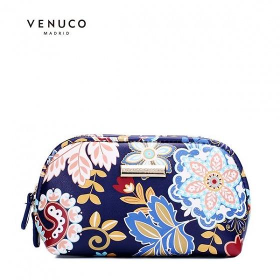 Ví trang điểm màu xanh navy Venuco Madrid M46
