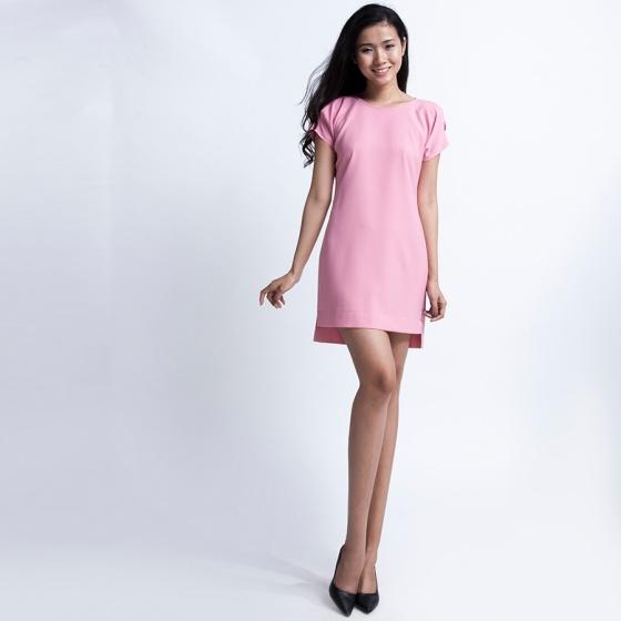 Đầm suông xẻ vai DRE028 (hồng champagne)