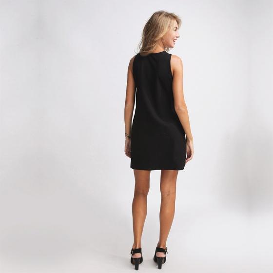 Đầm midi cổ chéo DRE031 (đen noir)