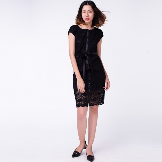 Đầm ren vintage Hity DRE045 (đen noir)