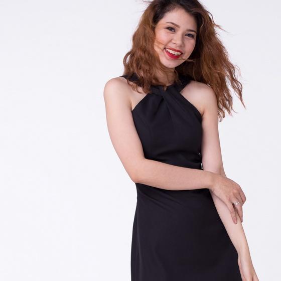 Đầm mini cổ chéo phối ren DRE020 (đen noir)