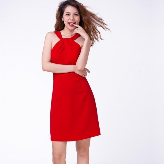Đầm mini cổ chéo phối ren Hity DRE020 (đỏ cabernet)