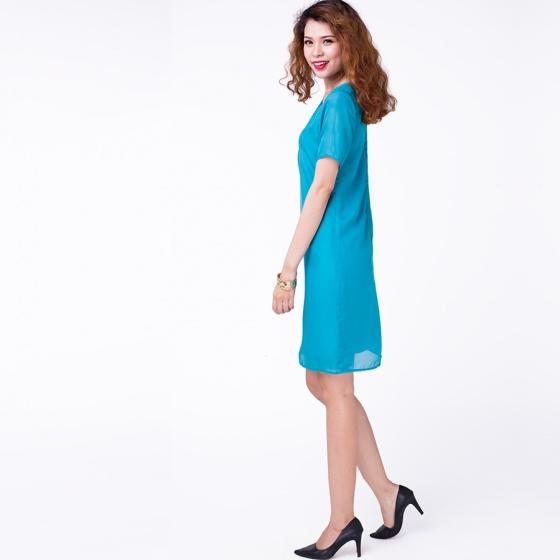 Đầm midi đắp vạt Hity DRE054 (xanh indigo)