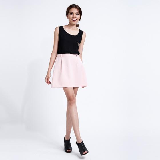 Váy mini ngắn xếp ly Hity SKI008 (hồng champagne)