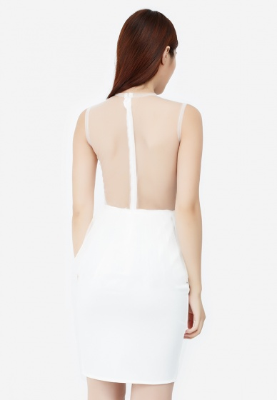 Đầm ôm Amun sát nách phối ren màu trắng DOM198-TRANG