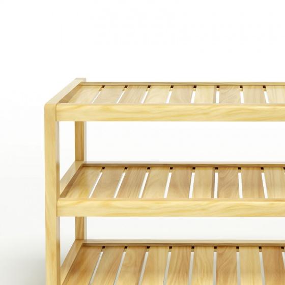 Kệ dép 3 tầng IB363 gỗ cao su 63x30x50 cm màu tự nhiên