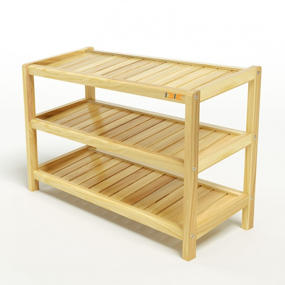 Kệ dép 3 tầng IB373 gỗ cao su 73x30x50 cm màu tự nhiên